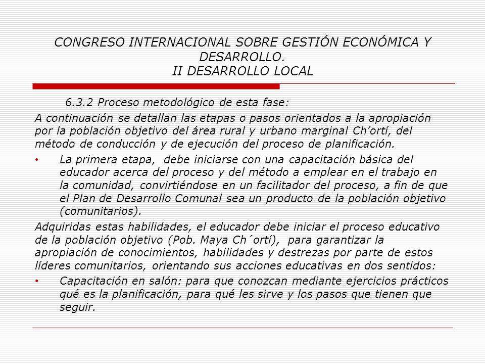 CONGRESO INTERNACIONAL SOBRE GESTIÓN ECONÓMICA Y DESARROLLO. II DESARROLLO LOCAL 6.3 Tercera fase: Planificación del Desarrollo Comunal: 6.3.1 Signifi