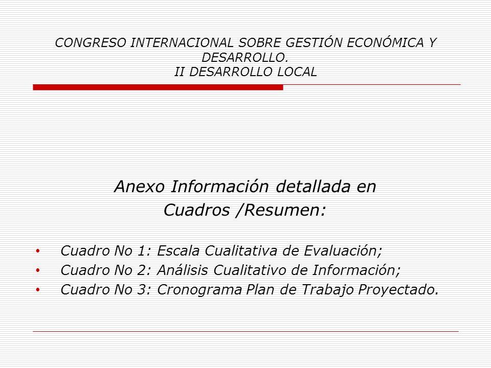 CONGRESO INTERNACIONAL SOBRE GESTIÓN ECONÓMICA Y DESARROLLO. II DESARROLLO LOCAL Simultáneamente al establecimiento del Plan de Desarrollo Comunal, se