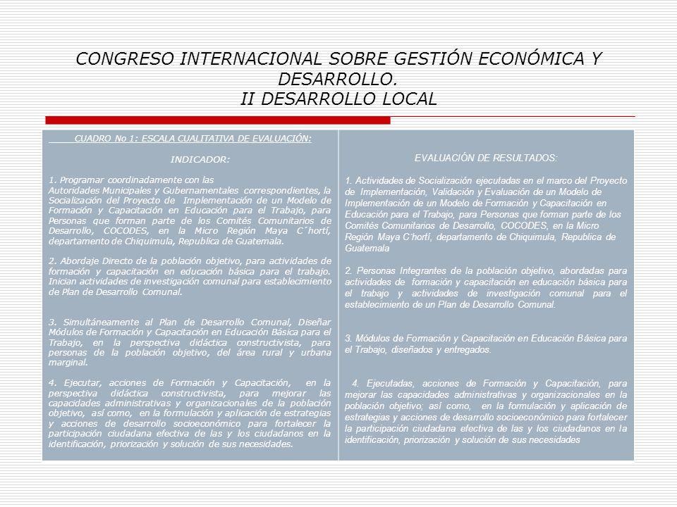 CONGRESO INTERNACIONAL SOBRE GESTIÓN ECONÓMICA Y DESARROLLO. II DESARROLLO LOCAL Anexo Información detallada en Cuadros /Resumen: Cuadro No 1: Escala