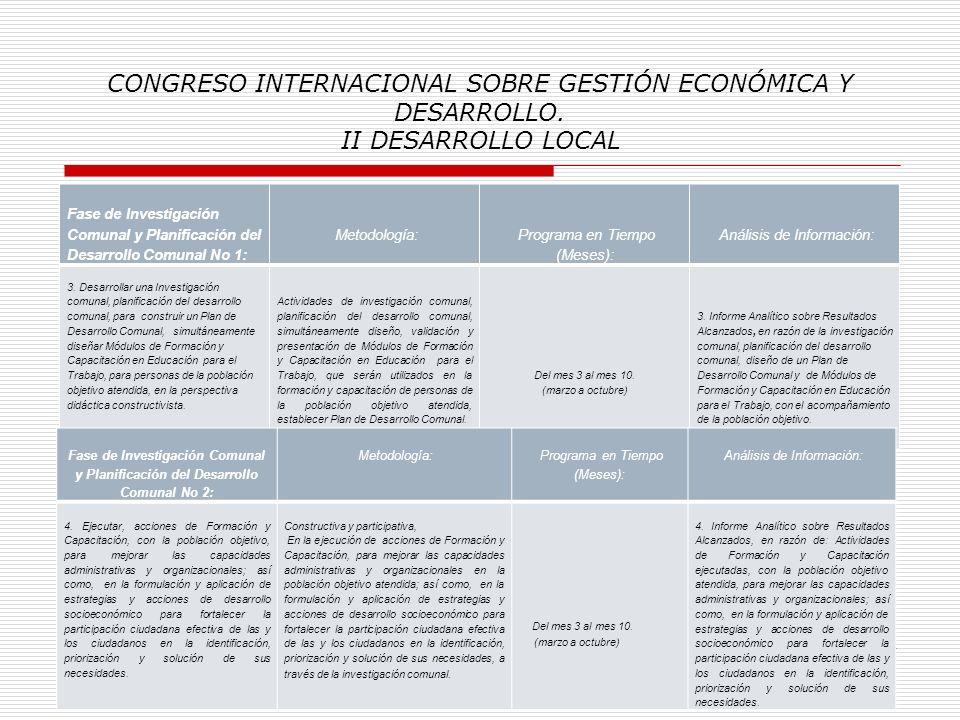 CONGRESO INTERNACIONAL SOBRE GESTIÓN ECONÓMICA Y DESARROLLO. II DESARROLLO LOCAL CUADRO No 2: Análisis Cualitativo de información: Fase de Promoción N
