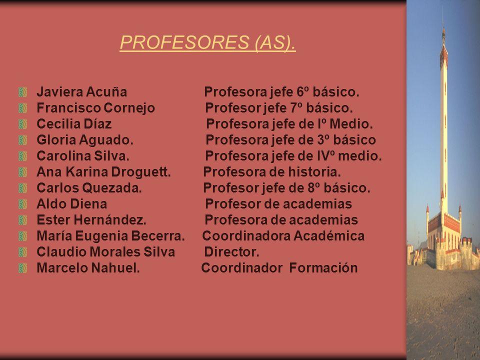 PROFESORES (AS). Javiera Acuña Profesora jefe 6º básico.