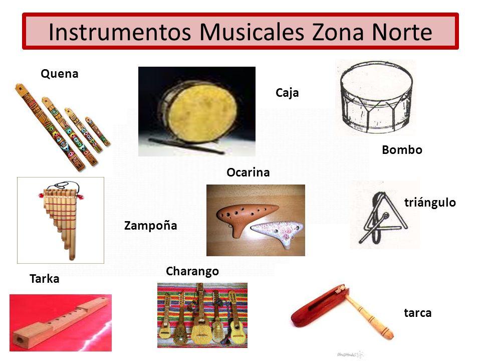 Instrumentos Musicales Zona Norte Caja Charango Zampoña Ocarina Tarka Bombo triángulo Matarca Quena