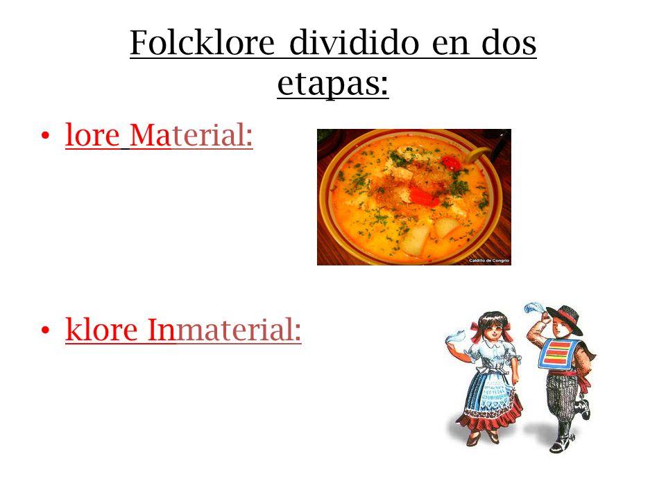 Folcklore dividido en dos etapas: lore Material: klore Inmaterial: