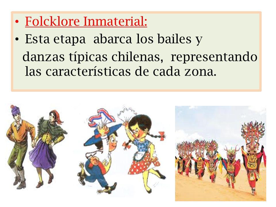 Folcklore Inmaterial: Esta etapa abarca los bailes y danzas típicas chilenas, representando las características de cada zona.