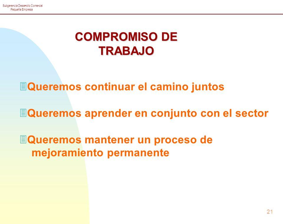 Subgerencia Desarrollo Comercial Pequeña Empresa 21 COMPROMISO DE TRABAJO 3Queremos continuar el camino juntos 3Queremos aprender en conjunto con el sector 3Queremos mantener un proceso de mejoramiento permanente