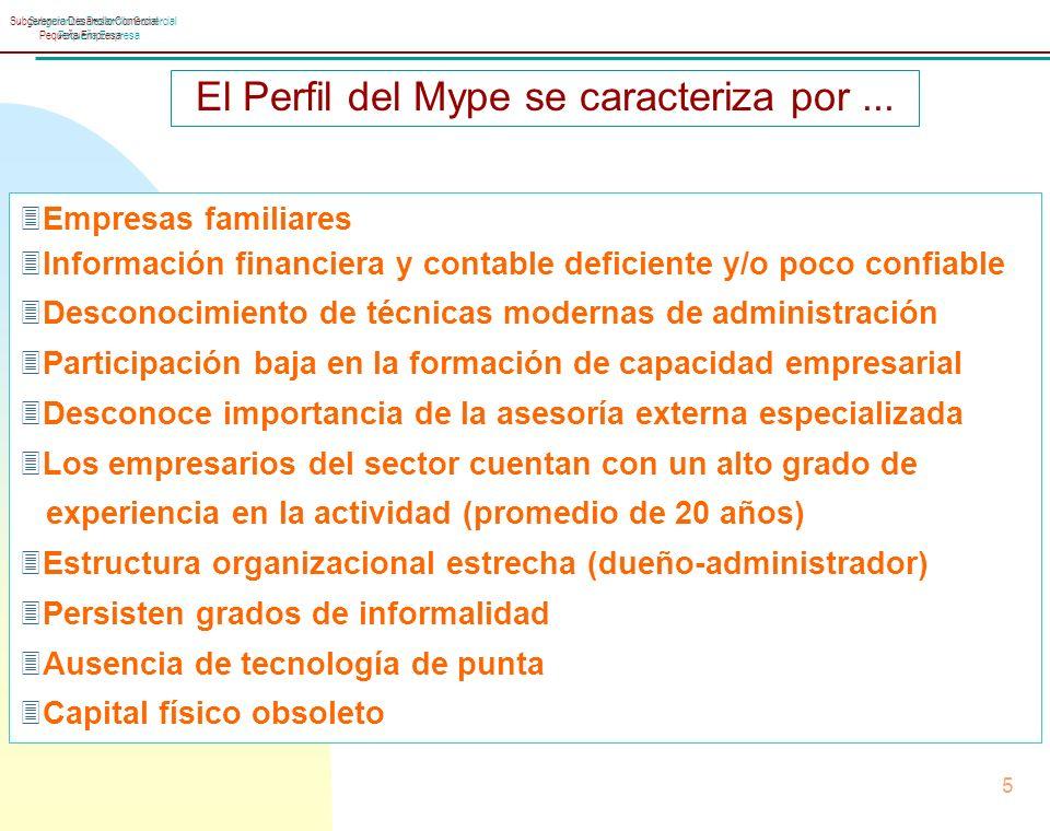 Subgerencia Desarrollo Comercial Pequeña Empresa 5 Subgerencia Desarrollo Comercial Pequeña Empresa El Perfil del Mype se caracteriza por...