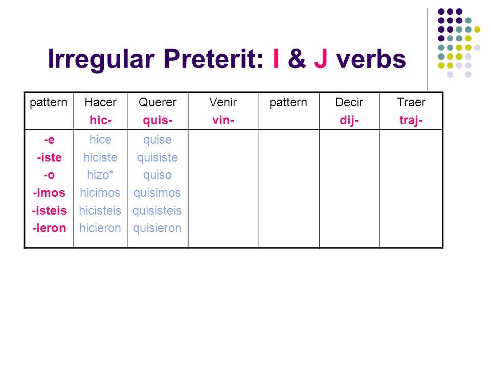 Irregular Preterit: I & J verbs patternHacer hic- Querer quis- Venir vin- patternDecir dij- Traer traj- -e -iste -o -imos -isteis -ieron hice hiciste