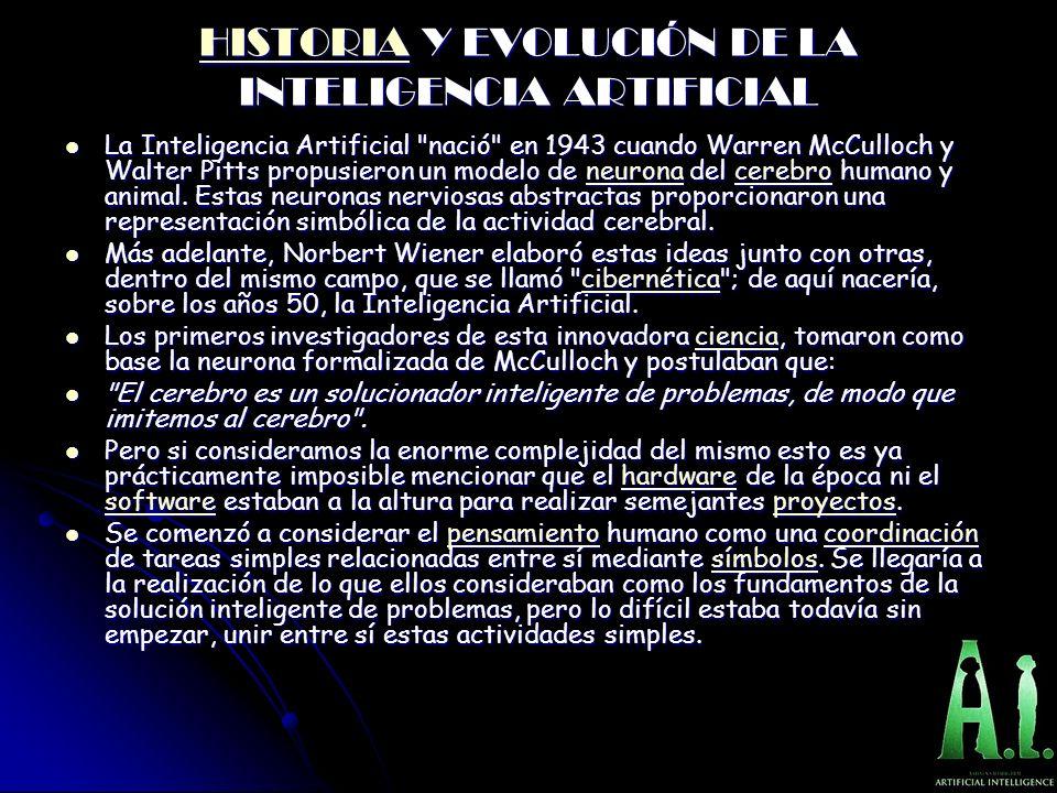 HISTORIAHISTORIA Y EVOLUCIÓN DE LA INTELIGENCIA ARTIFICIAL HISTORIA La Inteligencia Artificial nació en 1943 cuando Warren McCulloch y Walter Pitts propusieron un modelo de neurona del cerebro humano y animal.