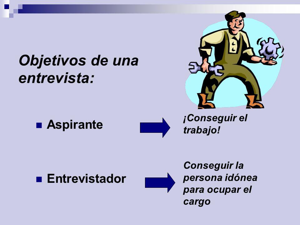 Objetivos de una entrevista: Aspirante Entrevistador Conseguir la persona idónea para ocupar el cargo ¡Conseguir el trabajo!