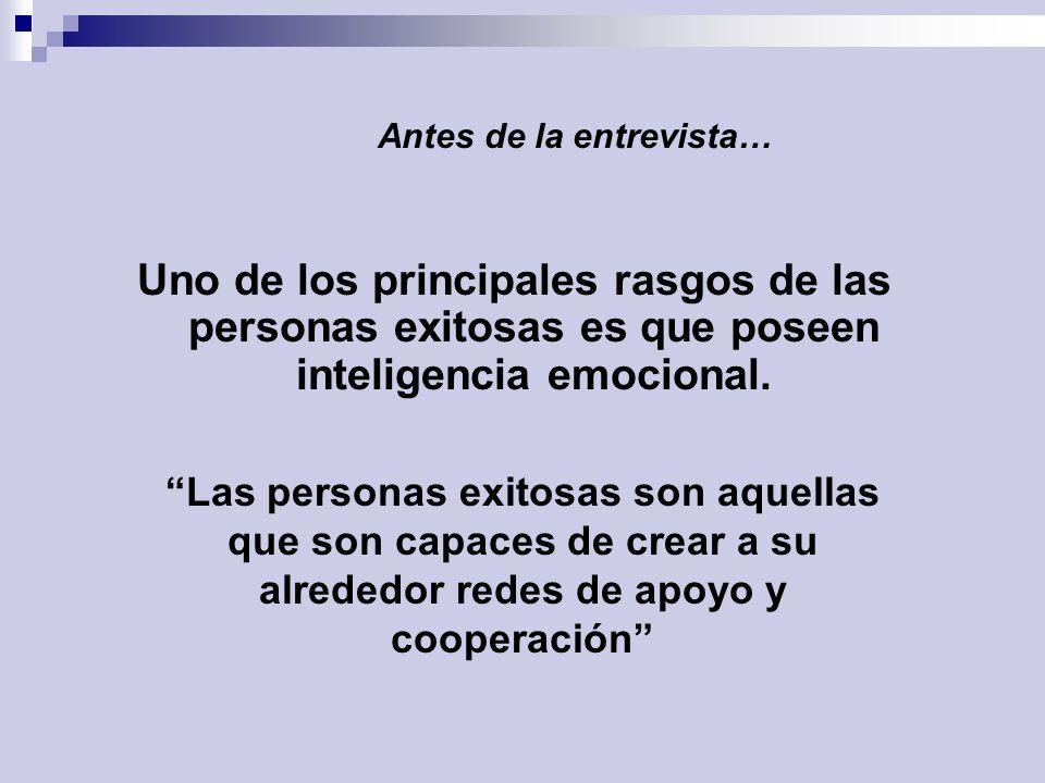 Si usted posee Inteligencia Emocional Antes de la entrevista… Lectura recomendada: La inteligencia emocional, Daniel Goleman