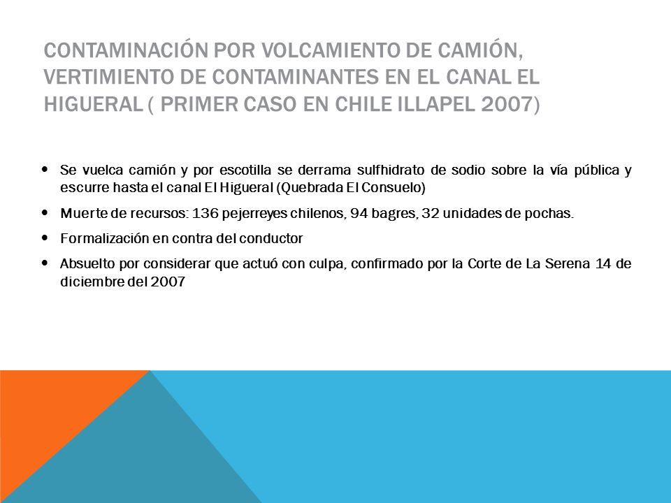 CONTAMINACIÓN POR VOLCAMIENTO DE CAMIÓN, VERTIMIENTO DE CONTAMINANTES EN EL CANAL EL HIGUERAL ( PRIMER CASO EN CHILE ILLAPEL 2007) Se vuelca camión y