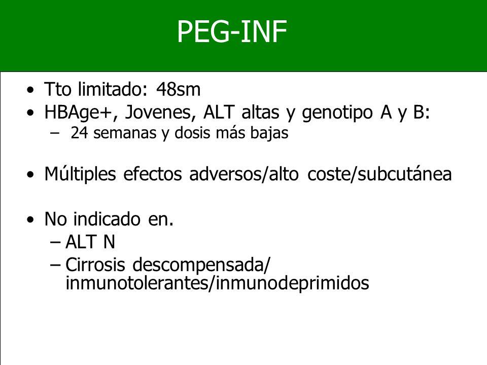 PEG-INF Tto limitado: 48sm HBAge+, Jovenes, ALT altas y genotipo A y B: – 24 semanas y dosis más bajas Múltiples efectos adversos/alto coste/subcutáne