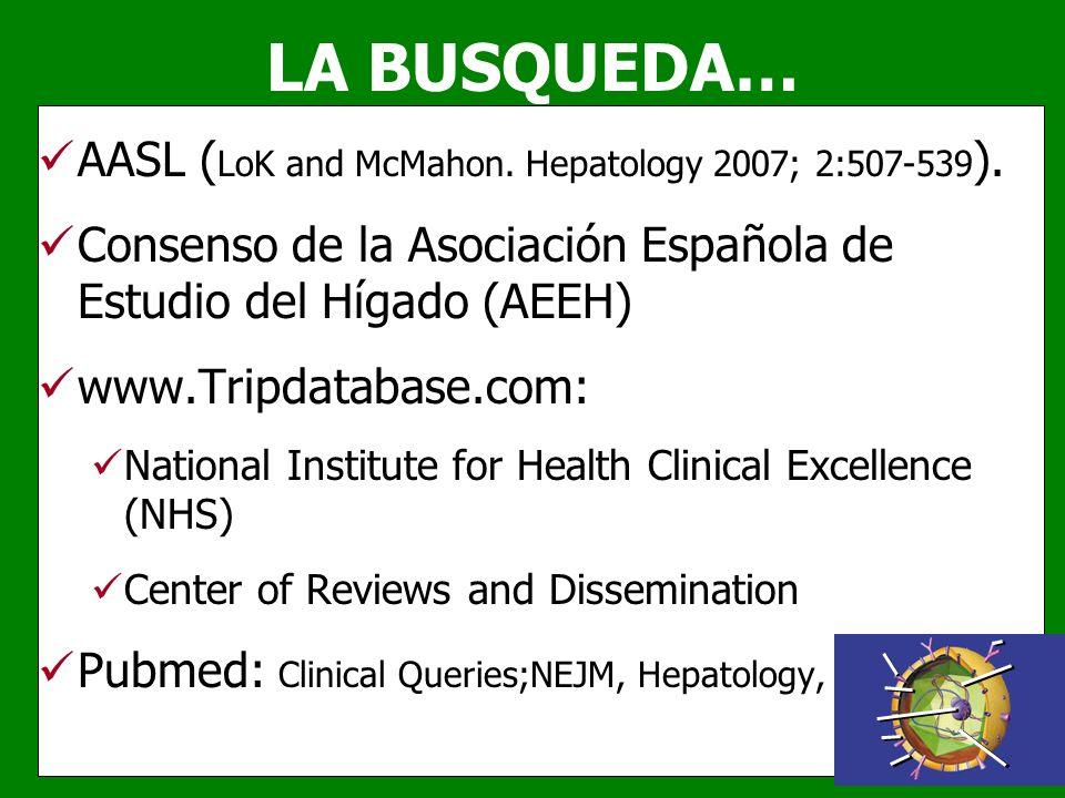 LA BUSQUEDA… AASL ( LoK and McMahon. Hepatology 2007; 2:507-539 ). Consenso de la Asociación Española de Estudio del Hígado (AEEH) www.Tripdatabase.co