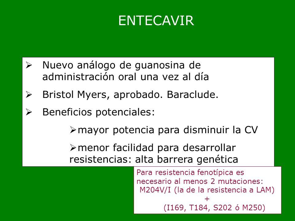 ENTECAVIR Nuevo análogo de guanosina de administración oral una vez al día Bristol Myers, aprobado. Baraclude. Beneficios potenciales: mayor potencia