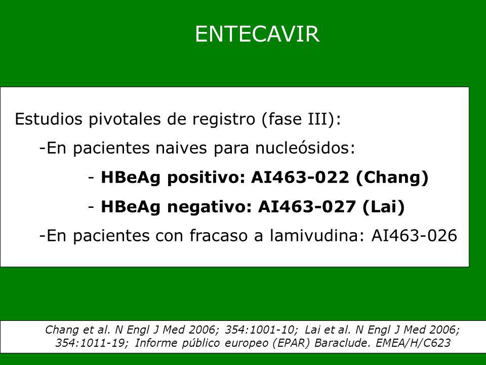 ENTECAVIR Estudios pivotales de registro (fase III): -En pacientes naives para nucleósidos: - HBeAg positivo: AI463-022 (Chang) - HBeAg negativo: AI46