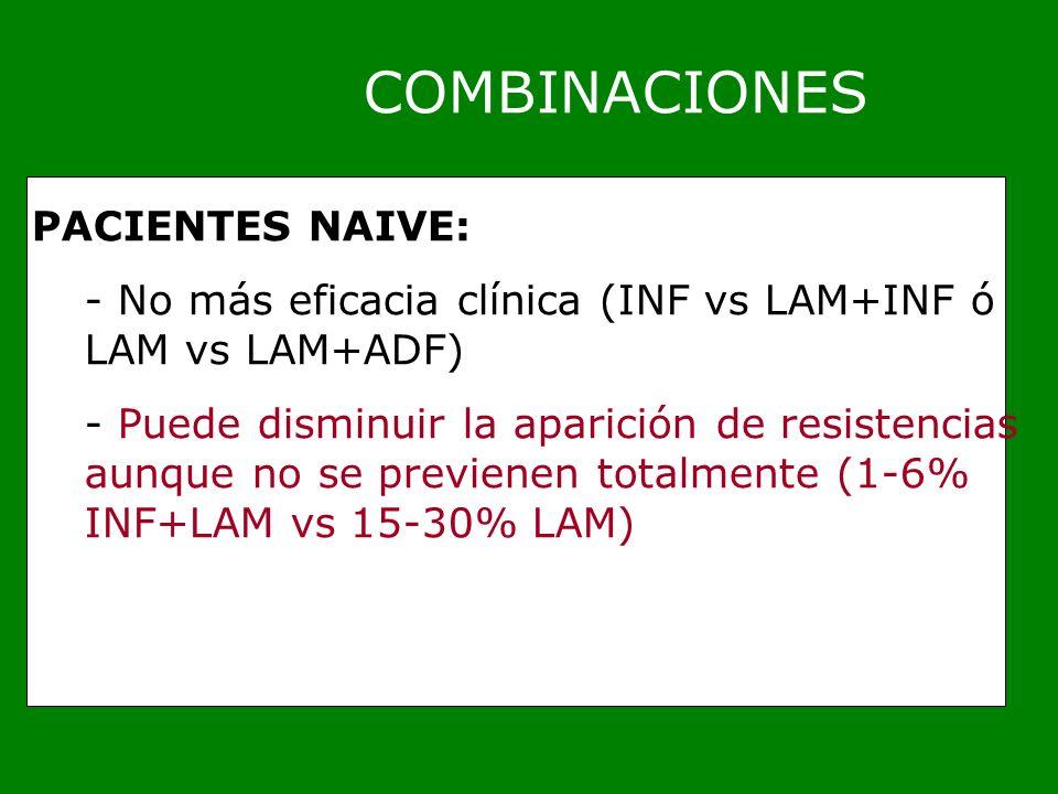 COMBINACIONES PACIENTES NAIVE: - No más eficacia clínica (INF vs LAM+INF ó LAM vs LAM+ADF) - Puede disminuir la aparición de resistencias aunque no se