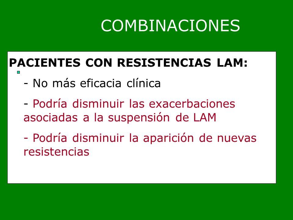 COMBINACIONES PACIENTES CON RESISTENCIAS LAM: - No más eficacia clínica - Podría disminuir las exacerbaciones asociadas a la suspensión de LAM - Podrí