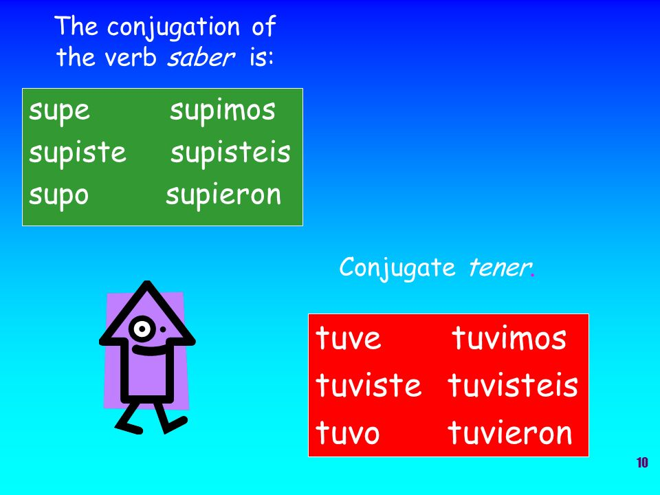 The conjugation of the verb saber is: supe supimos supiste supisteis supo supieron Conjugate tener.