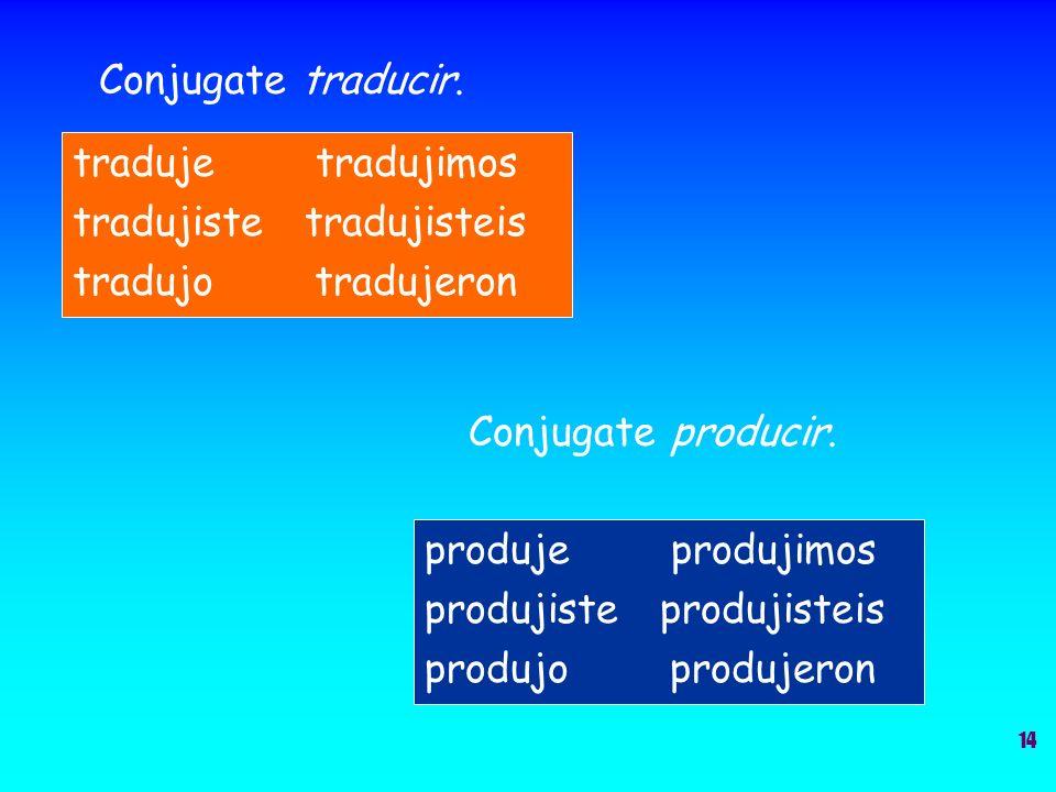 Conjugate traducir. traduje tradujimos tradujiste tradujisteis tradujo tradujeron Conjugate producir. produje produjimos produjiste produjisteis produ