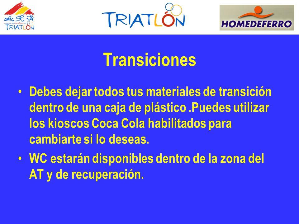 Transiciones Debes dejar todos tus materiales de transición dentro de una caja de plástico.Puedes utilizar los kioscos Coca Cola habilitados para cambiarte si lo deseas.