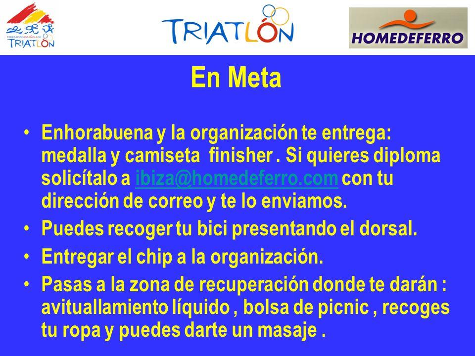 En Meta Enhorabuena y la organización te entrega: medalla y camiseta finisher.