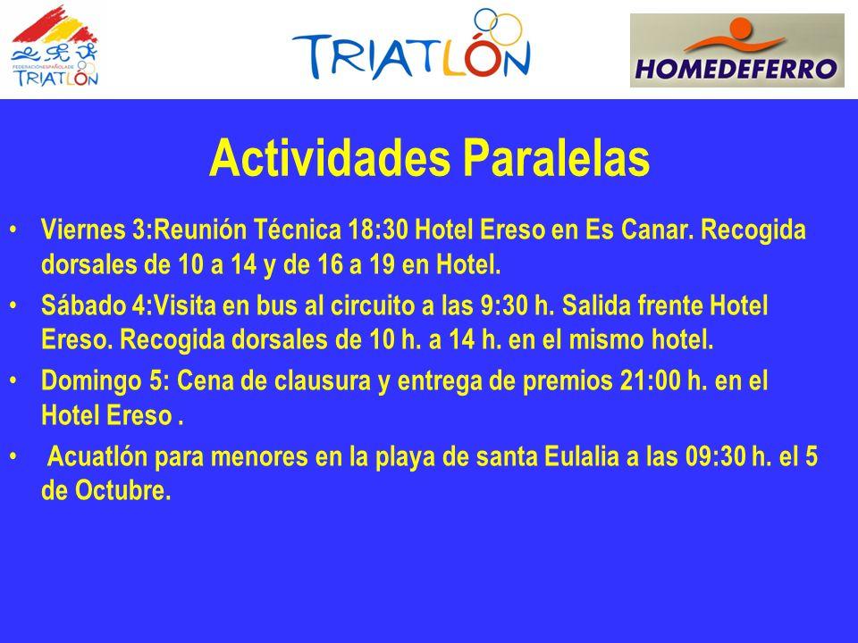 Actividades Paralelas Viernes 3:Reunión Técnica 18:30 Hotel Ereso en Es Canar.