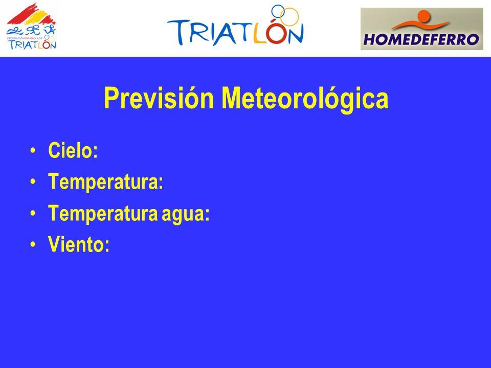 Previsión Meteorológica Cielo: Temperatura: Temperatura agua: Viento: