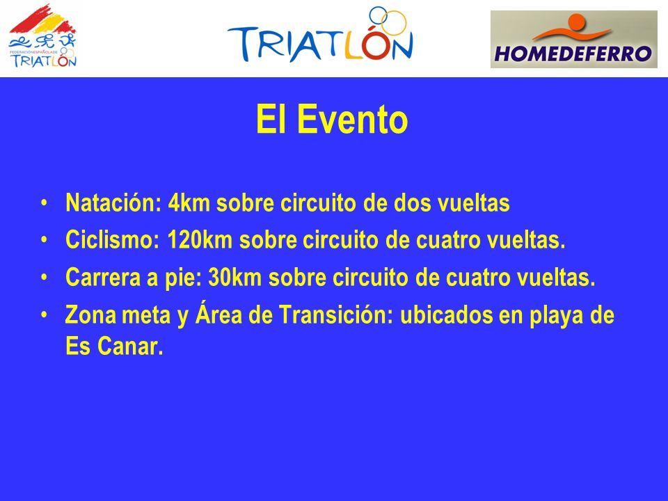 El Evento Natación: 4km sobre circuito de dos vueltas Ciclismo: 120km sobre circuito de cuatro vueltas.
