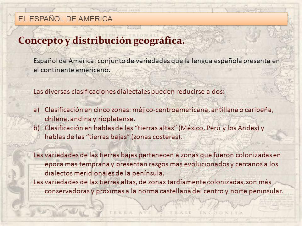 EL ESPAÑOL DE AMÉRICA Concepto y distribución geográfica. Español de América: conjunto de variedades que la lengua española presenta en el continente