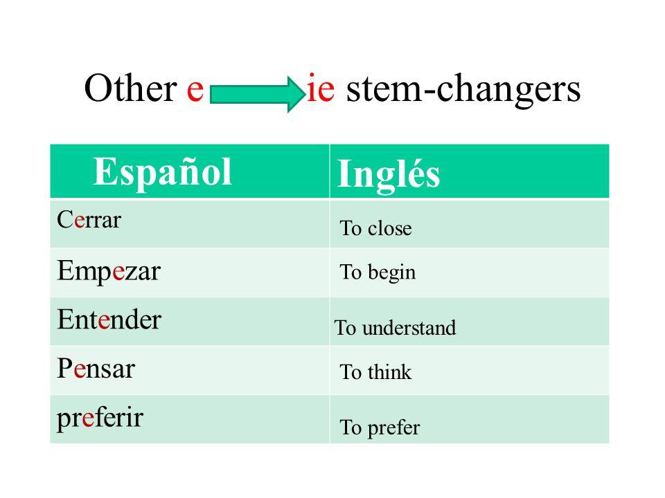 Inglés Cerrar Empezar Entender Pensar preferir Other e ie stem-changers Español To close To begin To understand To think To prefer