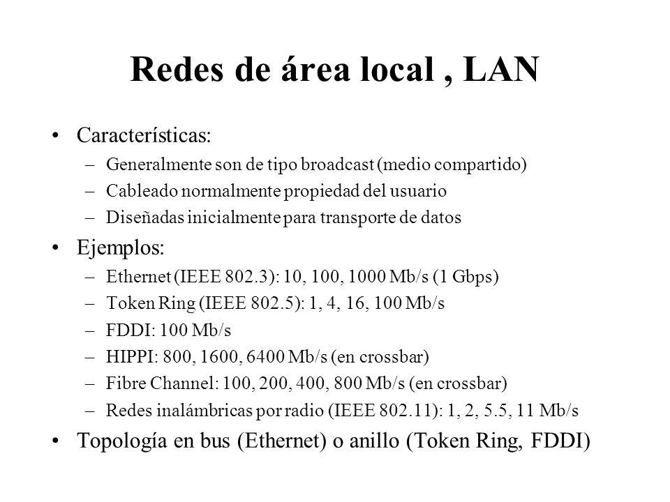 Clasificación de las redes por su ámbito Distancia entre procesadores Procesadores ubicados en el mismo... Ejemplo 1 mSistemaMultiprocesador 10 mHabit