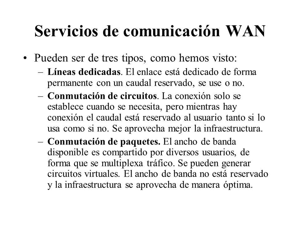 Redes de área extensa o WAN Se caracterizan por utilizar normalmente medios telefónicos, diseñados en principio para transportar la voz. Son servicios