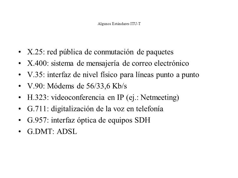ITU-T: International Telecommunications Union – Sector Telecomunicaciones Creada en 1934 y desde 1947 pertenece a la ONU. Redacta recomendaciones, per