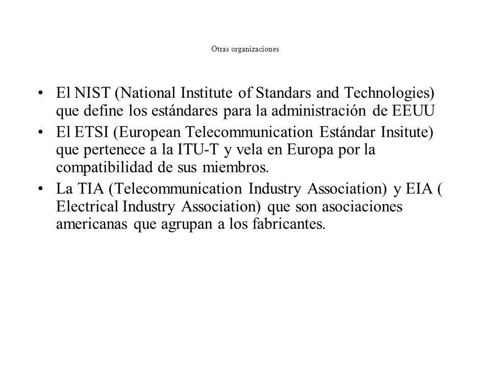 Otras organizaciones El IEEE (Institute of Electrical and Electronic Engineers) –Asociación profesional de ámbito internacional –Elabora los estándare