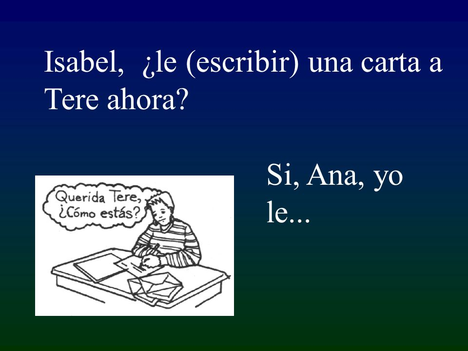 Si, Ana, yo le... Isabel, ¿le (escribir) una carta a Tere ahora