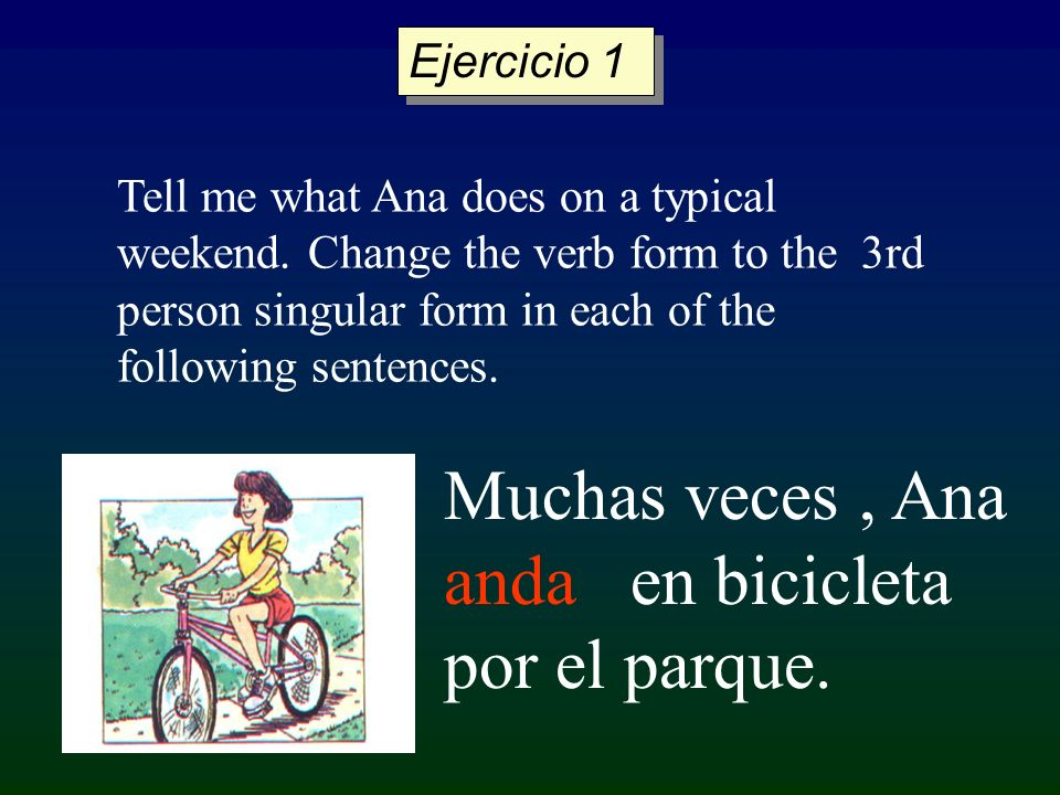 Muchas veces, Ana anda en bicicleta por el parque. Tell me what Ana does on a typical weekend. Change the verb form to the 3rd person singular form in