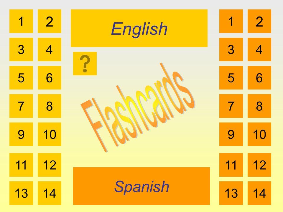 English Spanish 1 3 2 4 5 7 6 8 910 1112 1314 1 3 2 4 5 7 6 8 910 1112 1314