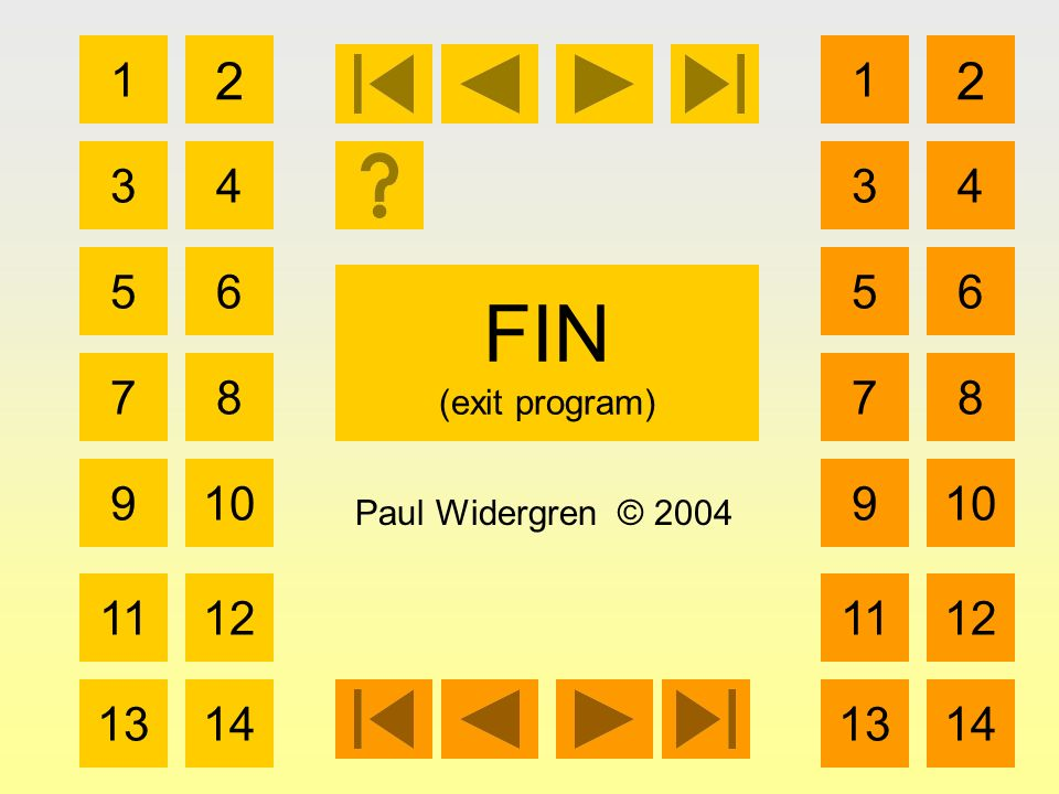 FIN (exit program) 1 3 2 4 5 7 6 8 910 1112 1314 Paul Widergren © 2004 1 3 2 4 5 7 6 8 910 1112 1314