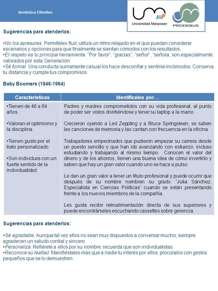 Generación X (1965-1976) Sugerencias para atenderlos: Actúa con eficiencia y asertividad.
