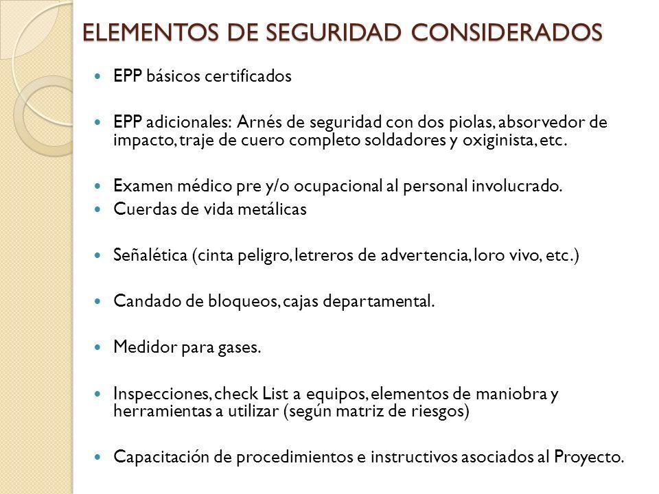 ELEMENTOS DE SEGURIDAD CONSIDERADOS EPP básicos certificados EPP adicionales: Arnés de seguridad con dos piolas, absorvedor de impacto, traje de cuero completo soldadores y oxiginista, etc.