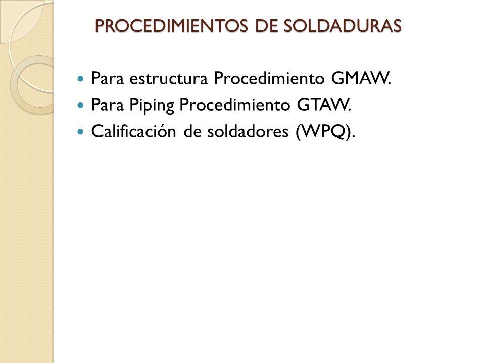 PROCEDIMIENTOS DE SOLDADURAS Para estructura Procedimiento GMAW.