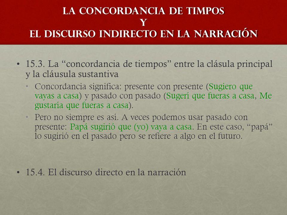 la concordancia de timpos y el discurso indirecto en la narración 15.3.