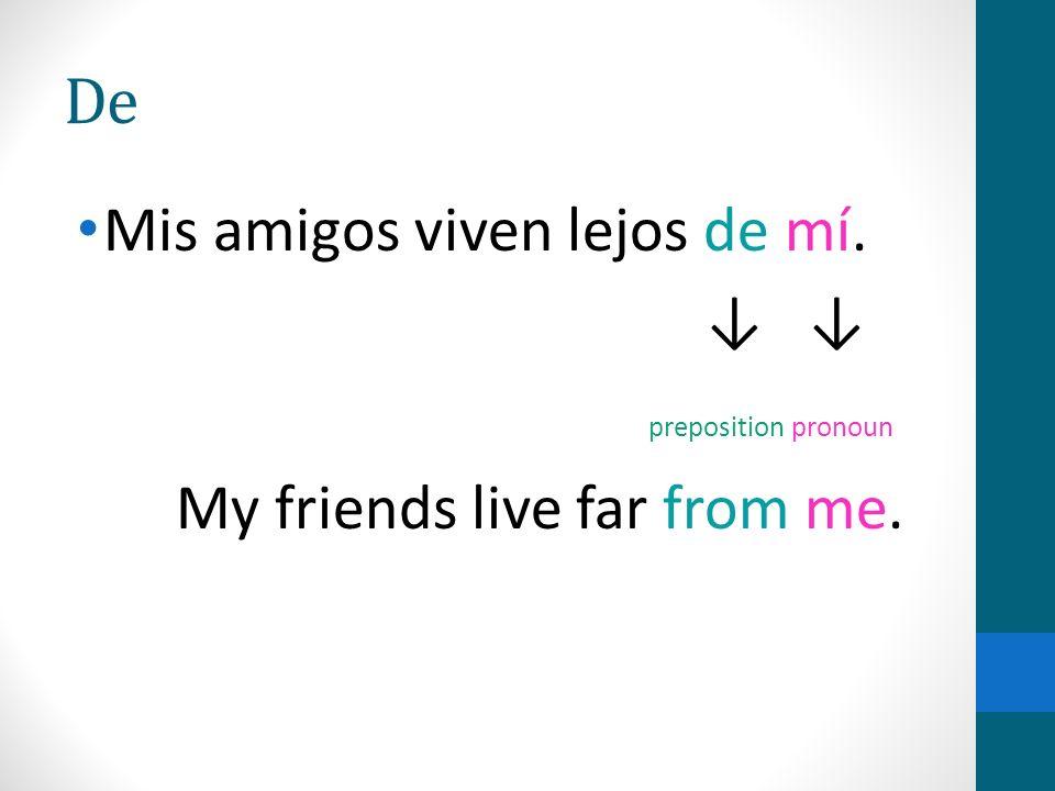 De Mis amigos viven lejos de mí. preposition pronoun My friends live far from me.