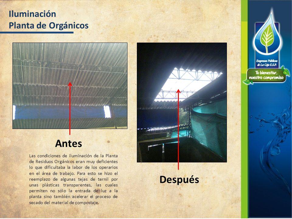 Iluminación Planta de Orgánicos Antes Después Las condiciones de iluminación de la Planta de Residuos Orgánicos eran muy deficientes lo que dificultab