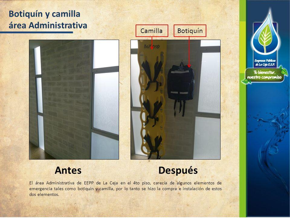 Botiquín y camilla área Administrativa AntesDespués El área Administrativa de EEPP de La Ceja en el 4to piso, carecía de algunos elementos de emergenc