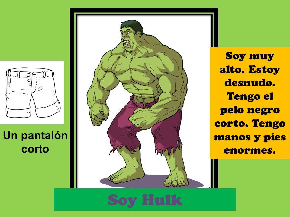 Soy Hulk Un pantalón corto Soy muy alto. Estoy desnudo. Tengo el pelo negro corto. Tengo manos y pies enormes.