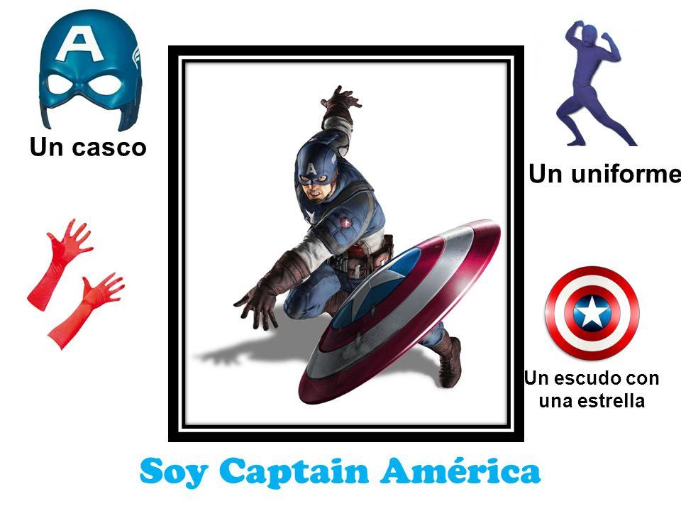 Soy Captain América Un casco Un uniforme Un escudo con una estrella