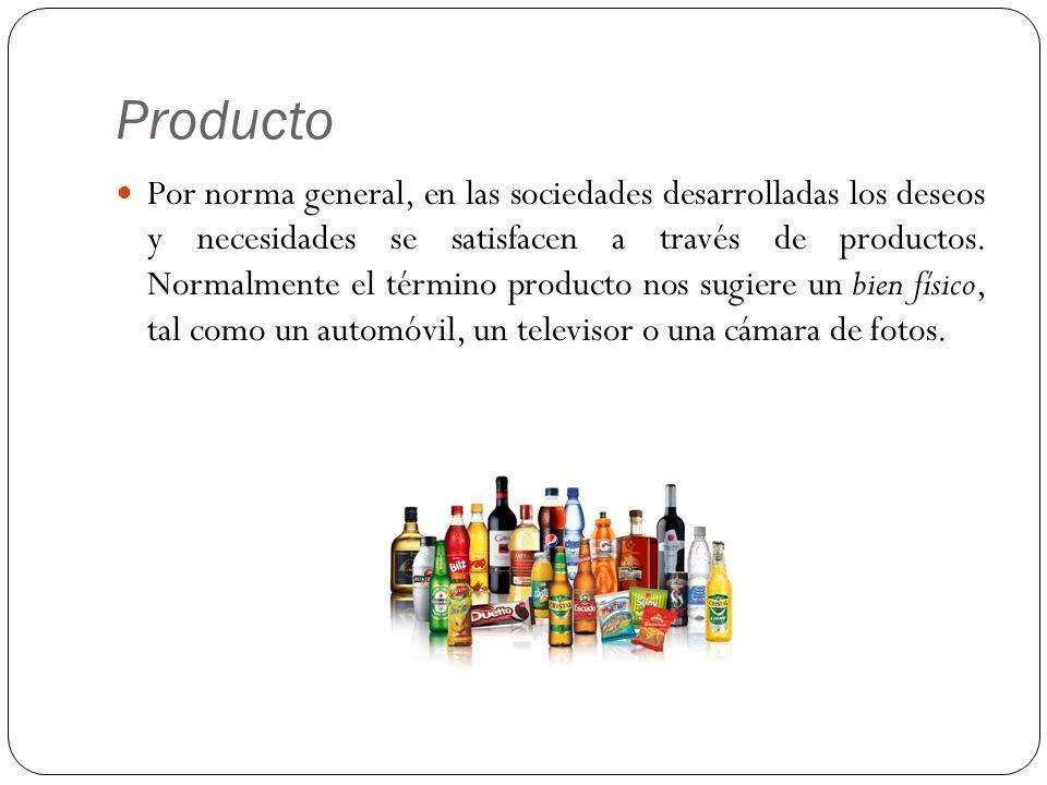 Producto Por norma general, en las sociedades desarrolladas los deseos y necesidades se satisfacen a través de productos. Normalmente el término produ
