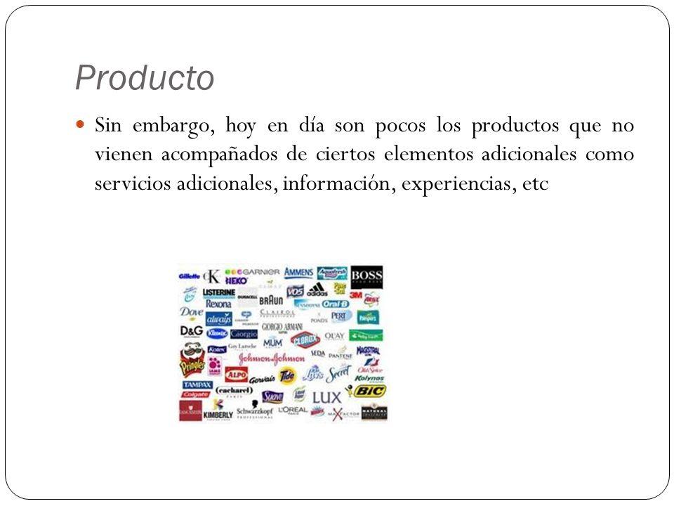 Producto Sin embargo, hoy en día son pocos los productos que no vienen acompañados de ciertos elementos adicionales como servicios adicionales, inform
