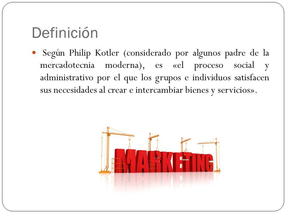 Definición Según Philip Kotler (considerado por algunos padre de la mercadotecnia moderna), es «el proceso social y administrativo por el que los grup